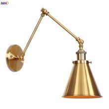 Lámpara de pared de brazo largo de oro, lámpara de pared de dormitorio Vintage, lámparas de pared industriales ajustables, lámpara LED Edison, iluminación para el hogar
