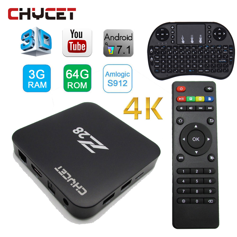 Chycet Z28 Android TV BOX Amlogic S912 3GB RAM 64GB ROM Android 7.1 Smart tv box WIFI media player LAN H.265 4K set top box