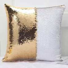 AOVOLL Cushion Covers 40X40cm Decorative Pillow Cases Mermaid Glitter Pillow With Sequin Decorative Cushions For Sofa
