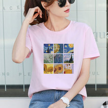 New Women Tumblr Clothes 2019 Van Gogh Art Oil Funny Print T Shirt Casual Round Neck Short-sleeve Aesthetic Tops Vintage Tees