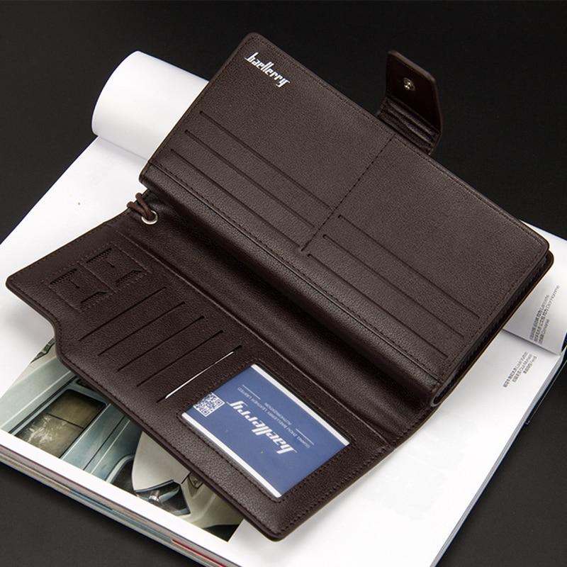 Top Quality leather long wallet men zipper wallets men women money bag pocket mltifunction brown one size 13