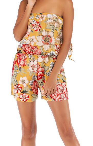 Floral flower Printed Two Piece Set 2020 Summer Sweet printing Top+ Short 2 piece outfits women set