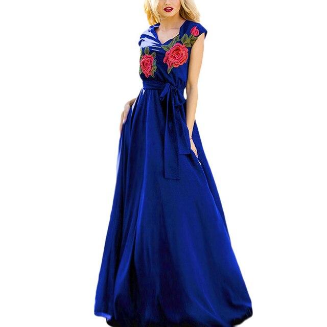 2c078ce3e1abad New Women Floor Long Chiffon Dress Retro Flower Embroided V Neck Swing Hem Sleeveless  Self-