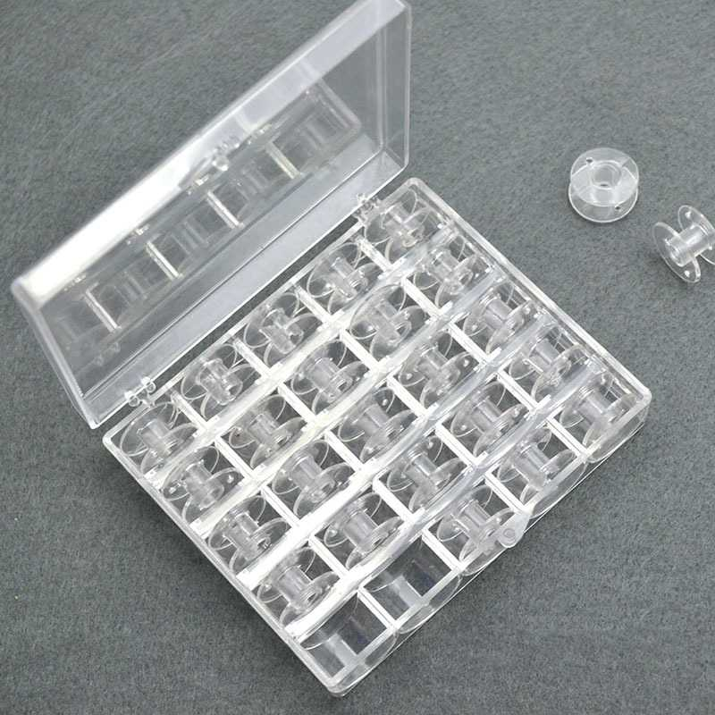 1/25PCs Clear Plastic 25 Bobbins Sewing Machine Spools With Thread Storage Case Box For Home Sewing Tools Sewing Accessories