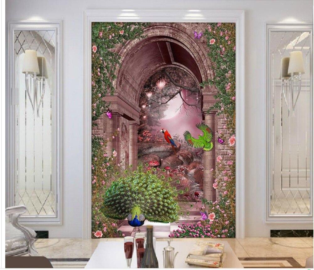 Home decoration 3d landscape wallpaper roman arches garden for Decoration cost per m2