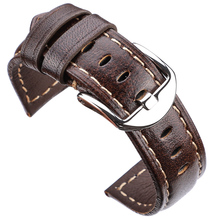 Genuine Leather Watch Bands Smooth Belt Women Men 22mm 24mm Watchbnds Strap Metal Polished Screw in Buckle все цены