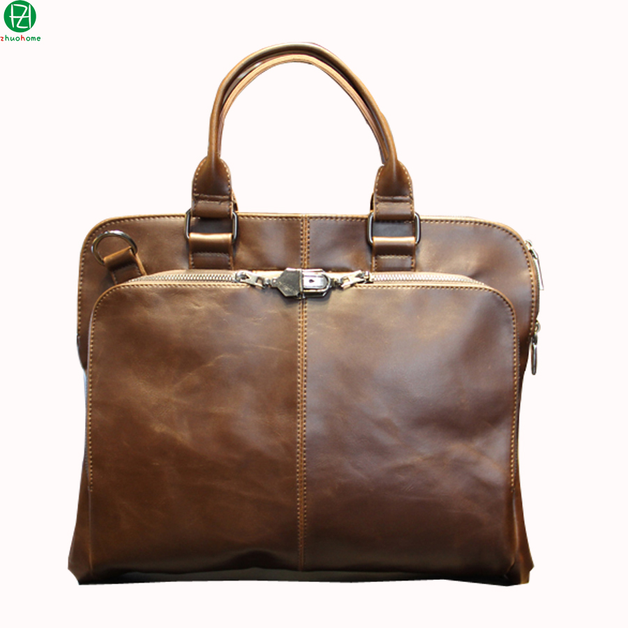 ФОТО england style carzy horse leather man handbags vintage business bags tote briefcase lock men messenger Laptop shoulder bag