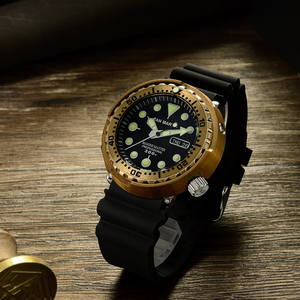 Image 4 - サンマーティン SBBN015 男性腕時計自動ファッションブロンズダイビング腕時計ブロンズ鎧 300 メートル防水 NH36 MOVT 腕時計