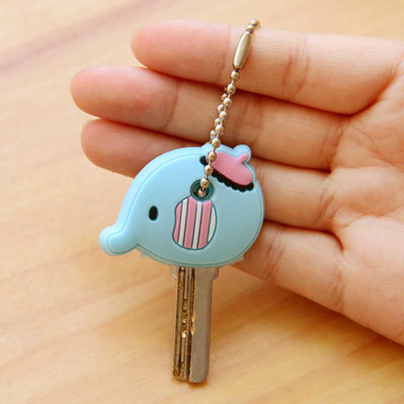 Chaveiro dos desenhos animados anime bonito silicone mickey stitch urso chave capa boné feminino presente coruja porte clef minne chaveiro