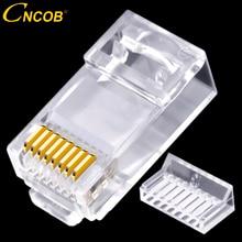 CNCOB conector de red rj45 de dos piezas, cable Gigabit, conector Ethernet de red, enchufe modular, Cat6 utp, cabeza de cristal bañada en oro