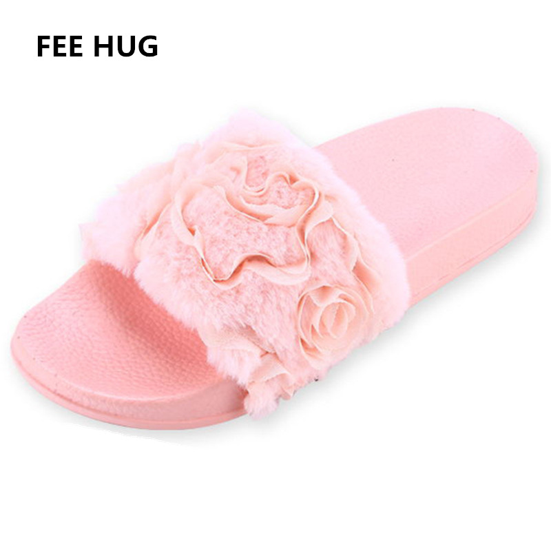 FEE HUG 2018 Sping Women Slippers Platform Plush Home Slipper Female Shoes Slip On Fur Slides 3D Lace Flowers Shoes Women 40 designer fluffy fur women winter slippers female plush home slides indoor casual shoes chaussure femme