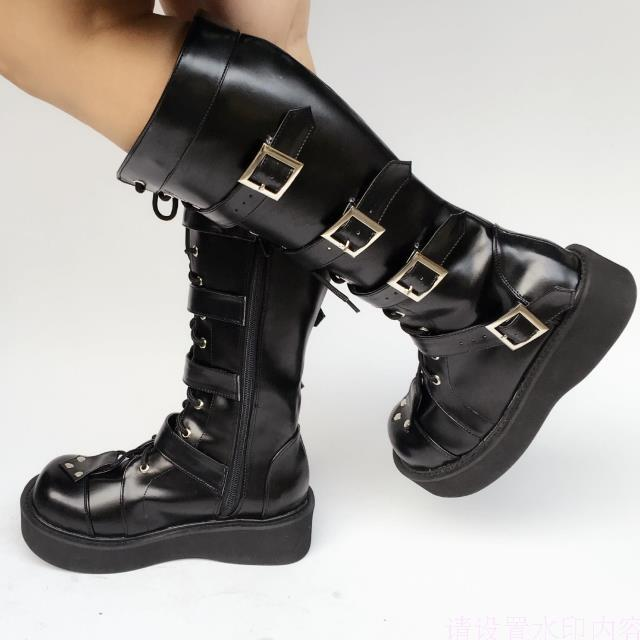 Japanese-Harajuku-High-Platform-Cosplay-Lolita-Mid-Calf-Boots-Women-Black-PU-Leather-Buckle-Straps-Lace-Up-Gothic-Punk-High-Boots-2