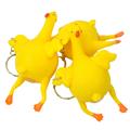 Comercio al por mayor 3 unids Pegajosa juguetes de Ventilación de Pollo Huevos Novedad Broma Traviesa Spoofing Humor Squeeze Alivio embroma el Regalo llavero