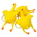 wholesale 3pcs Chicken Laying Egg Novelty toys Sticky Venting Prank Mischievous Spoofing Mood Squeeze Relief kids Gift keychain