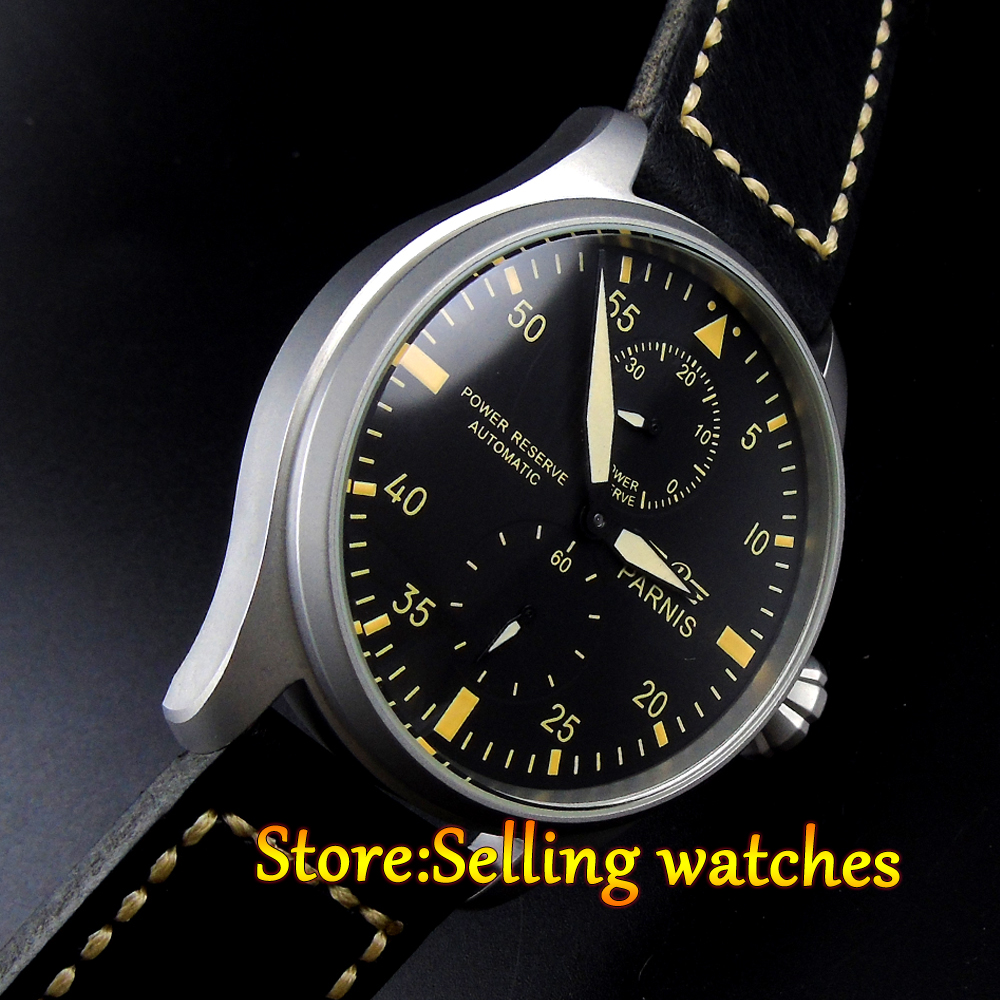 47mm Parnis black dial Power Reserve Brushed Case Yellow Numbers automatic Men Watch