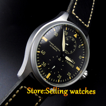 47 мм Parnis черный циферблат Запас Матовый Чехол Желтый Номера автоматические Мужчины Часы