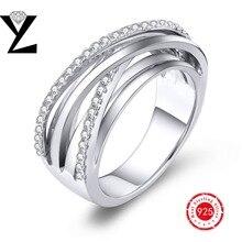 De alta calidad de 925 anillo de plata esterlina micro pave clear cz diamond oro blanco plateado para las mujeres anillos de plata de ley-joyería
