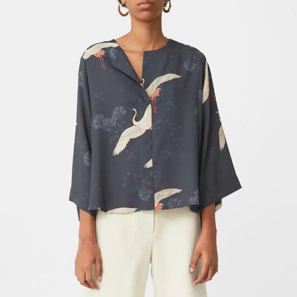 vintage cranes animal floral pattern blouse lapel pullover loose kimono shirt trendy women three