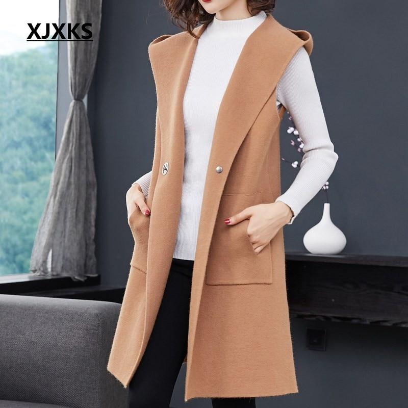 XJXKS hooded chalecos para mujer fashion outwear women vest with pockets single button colete feminino formal women long vest