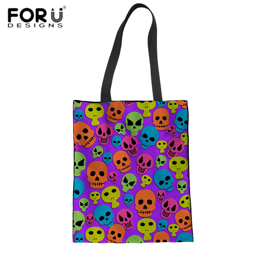 FORUDESIGNS Cute Skull Punk Print Women Handbags Large Capacity Foldable Shopping Bag Travel Tote Reusable Foldable Grocery Bags