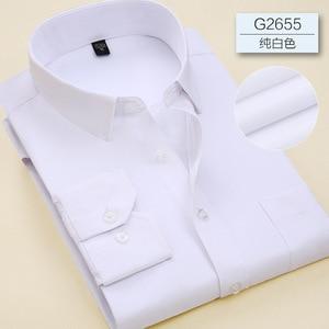 Image 1 - 2019 Casual Uzun Kollu Katı Slim Fit Erkek Sosyal İş Elbise Gömlek gömlek erkekler camisa masculina erkek elbise gömlek gömlek erkekler