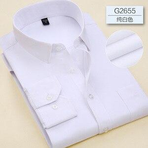 Image 1 - 2019 Повседневная однотонная приталенная мужская деловая рубашка с длинными рукавами, Мужская классическая рубашка, Мужская классическая рубашка, мужская рубашка