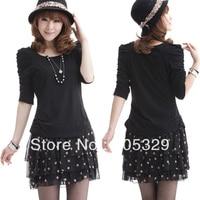 Women Casual Faux Twinset Three Quarter Puff Sleeve Chiffon Polka Dot Tiered Ruffle Mini Dress