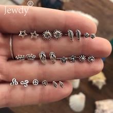 Jewdy 11 Pairs/lot Mix Small Rose Crown Sun Stars Feather Geometric Animal Stud