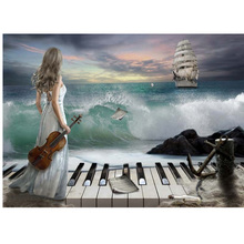 DIY Diamond Painting 3D Full Round Diamond Embroidery Diamond Mosaic Needlework Handmade Beauty Seaside Music Picture