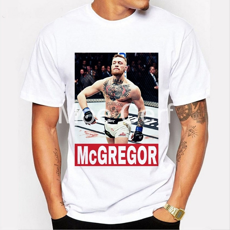 Men T-shirt Brand MMA Conor Mcgregor Funny T Shirt Boxer Fitness White Short Sleeve Casual Tees Hipster L9-D-49