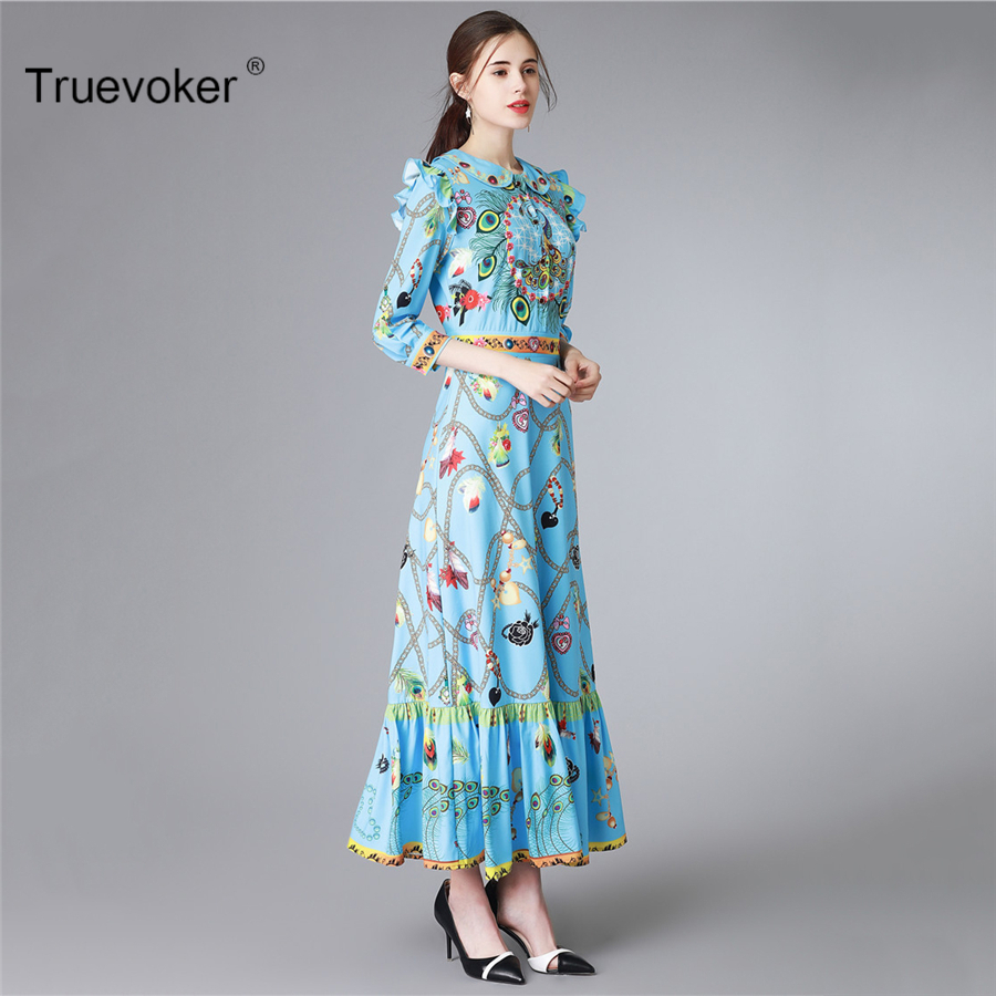 Truevoker Spring Europe Designer Maxi Dress Women s High Quality Half Sleeve  Blue Abstract Printed Ruffle Ankle Length Dress-in Dresses from Women s ... 091865af545a
