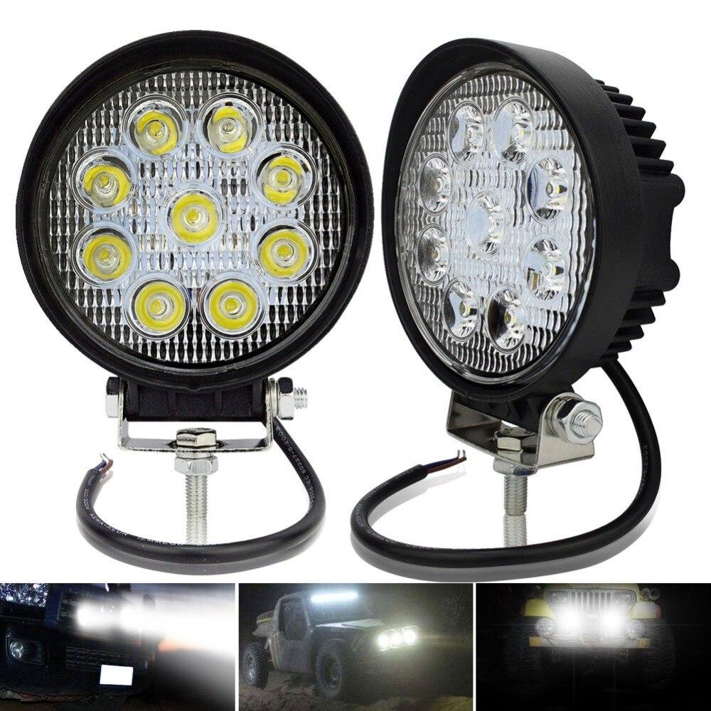 Safego 2 pcs 27 w led travail lumière 12 v Spot d'inondation 4x4 offroad Voiture Camion Led de travail lumières rond 24 v led lampe de travail ATV Tracteurs