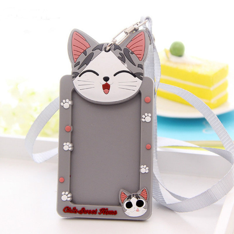 Silicone Cartoon Cute ID Credit Card Holder Bus Card Student ID Badge ID Name Business Credit Cards Cover Unistyle hot portable silicone bus card case holder cute cartoon kitty cat care student id identity badge credit cards cover with lanyard