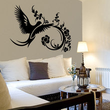 Home Decor Bird Flower Wall Decal Floral Design Sticker Removable Poster Flowers Pattern Vinyl Mural AY1650