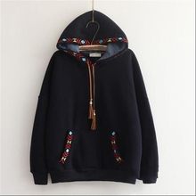 Arrow embroidery tassel hooded thickening sweatshirt mori girl vintage pullover