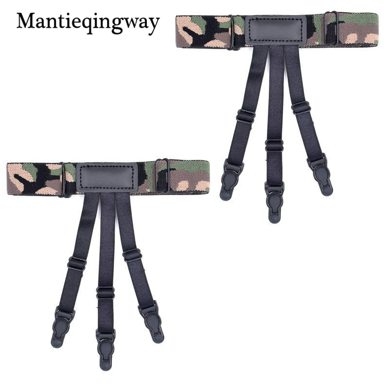 Mantieqingway 1 Pair Fashion Camouflage Printed High Leg Shirt Holders For Men Unisex Adjustable Non-slip Shirt Stays Garters Apparel Accessories