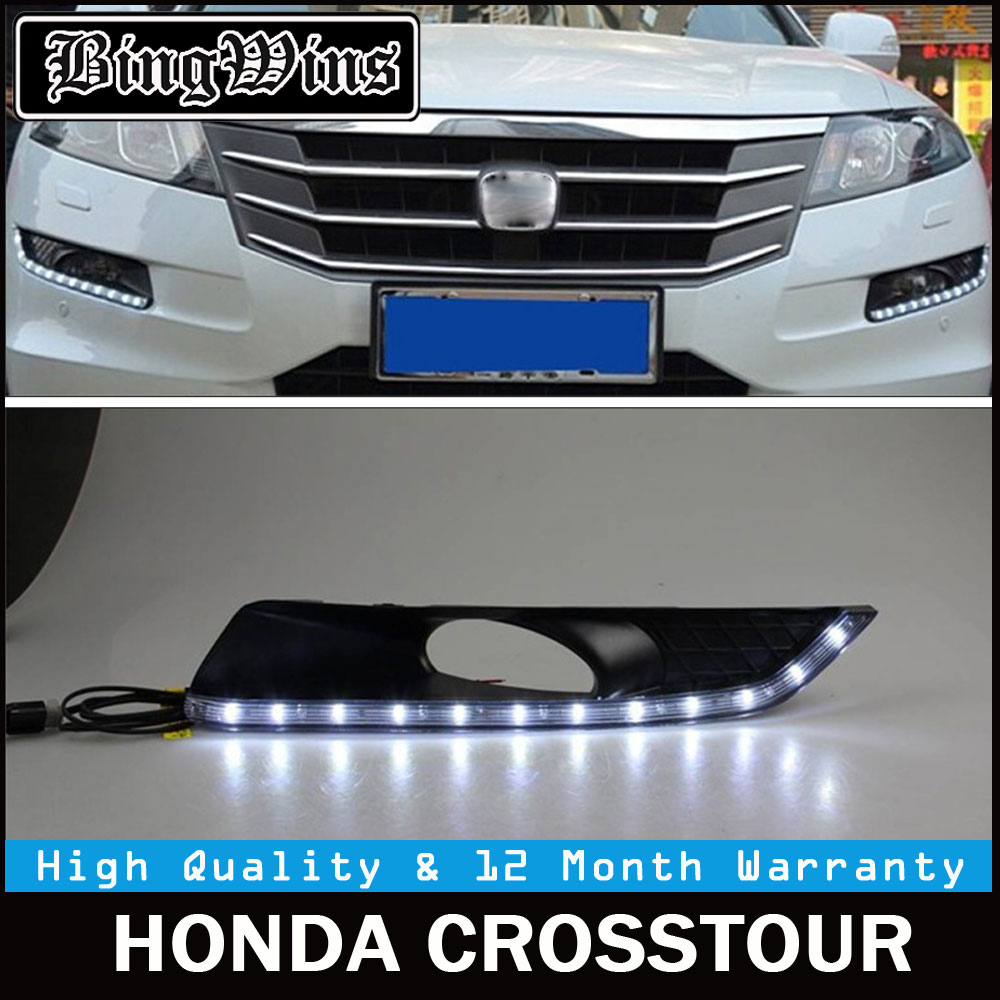 Car styling for DRL kit for Honda Crosstour 2011 2012 2013 LED Daytime Running Light turn signal led fog auto lamp daylight 12v