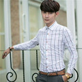 2016 Korean new men's slim casual Plaid Shirt spring and autumn Long sleeve cotton shirt M-4XL