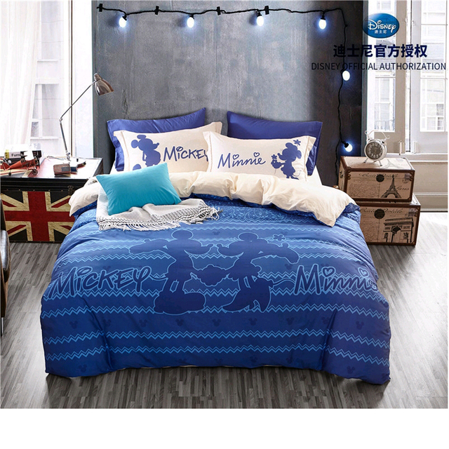 Mickey Mouse And Minnie Royal Blue Bedding Sets S Children Bedroom Decor 100 Cotton Bedsheet Duvet Cover Set 3 4pcs