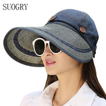 144a3d7b13e72 Chapéus Mulheres Ampla Grande chapéu da Borda Floppy Summer Beach Sun Straw Hat  Cap Botão Chapéus de Verão Para As Mulheres Anti.