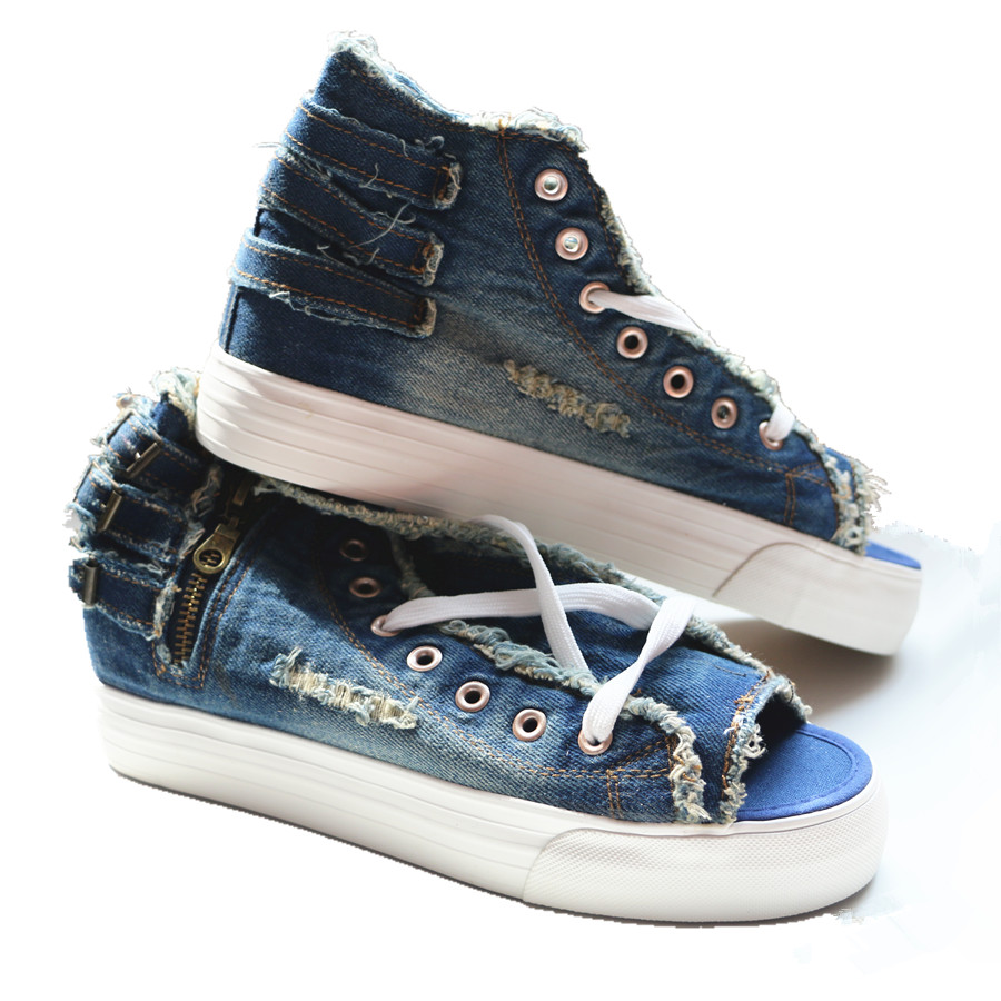 Fashion Womens Lace Up Low Top Round Toe Sneakerse Denim Canvas Athletic Shoes