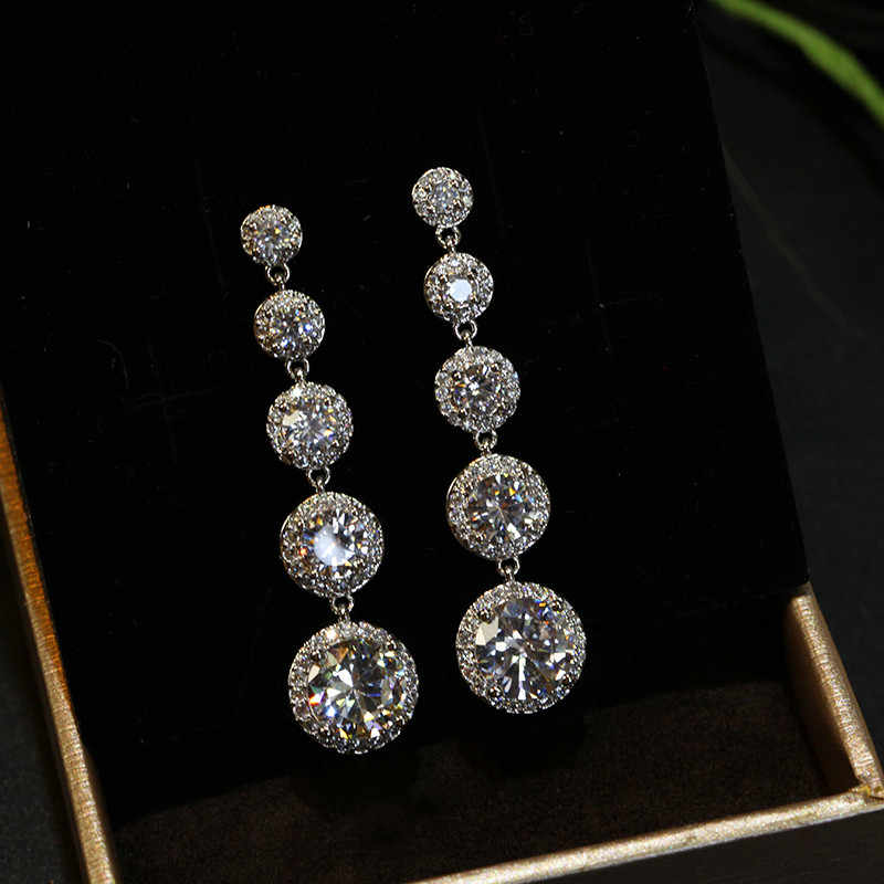 Fashion Female Crystal Round Drop Earrings 925 Sterling Silver Boho Wedding Jewelry AAA Zircon Stone Long Dangle Earrings