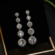 Fashion Wanita Kristal Bulat Drop Earrings 925 Sterling Silver Pernikahan BoHo Perhiasan AAA Zircon Batu Anting-Anting Menjuntai Panjang(China)