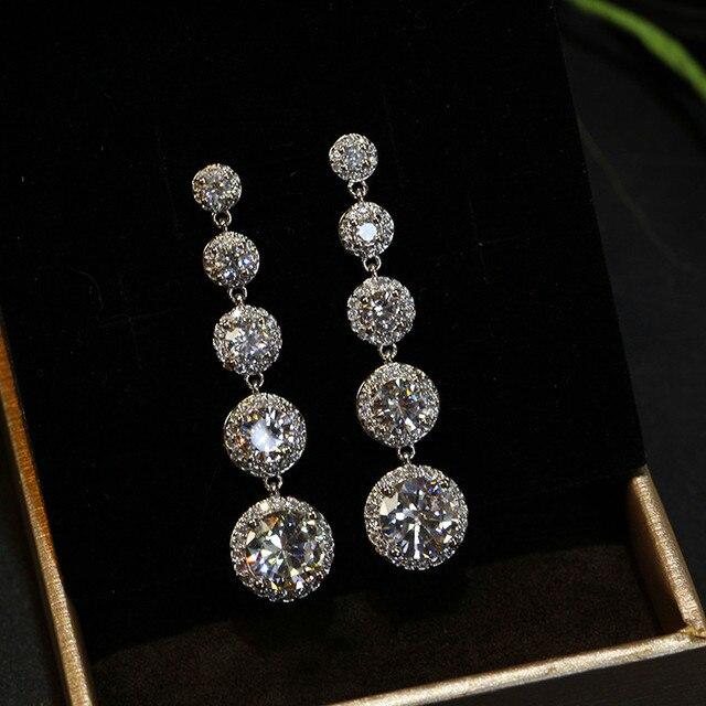 Thời trang Nữ Pha Lê Vòng Drop Earrings 925 Sterling Silver Bạc Boho Wedding Đồ Trang Sức AAA Zircon Đá Dài Dangle Bông Tai