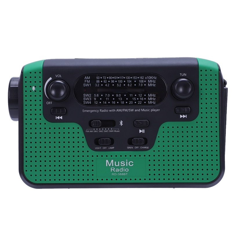 Radio Fm extérieure Portable avec lecteur Mp3 Bluetooth manivelle Radio d'urgence solaire Radios solaires récepteur mondial avec Flashlig