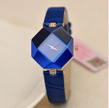 Hot selling Casual Quartz wrist watch Ladies Leather jewelry watch fashion gift table women Watches blue Jewel Clock Female