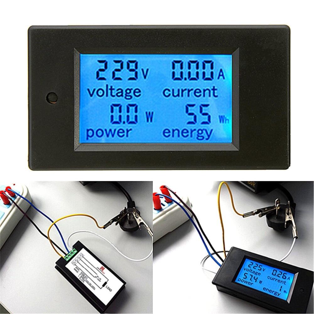 AC 20A измеритель мощности монитор Вольт Ампер кВтч Ватт цифровой комбо метр AC110V 220 В Вольтметр Амперметр