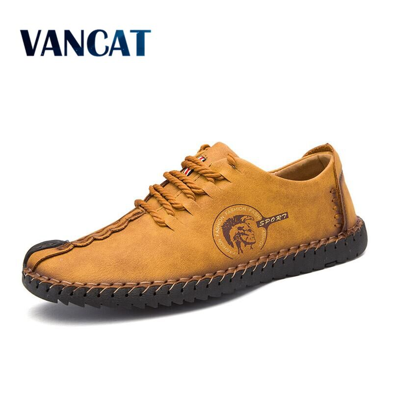 VANCAT 2018 New Comfortable Big size 38-46 Casual Shoes Loafers Men Shoes Quality Split Leather Shoes Men Flats Moccasins Shoes