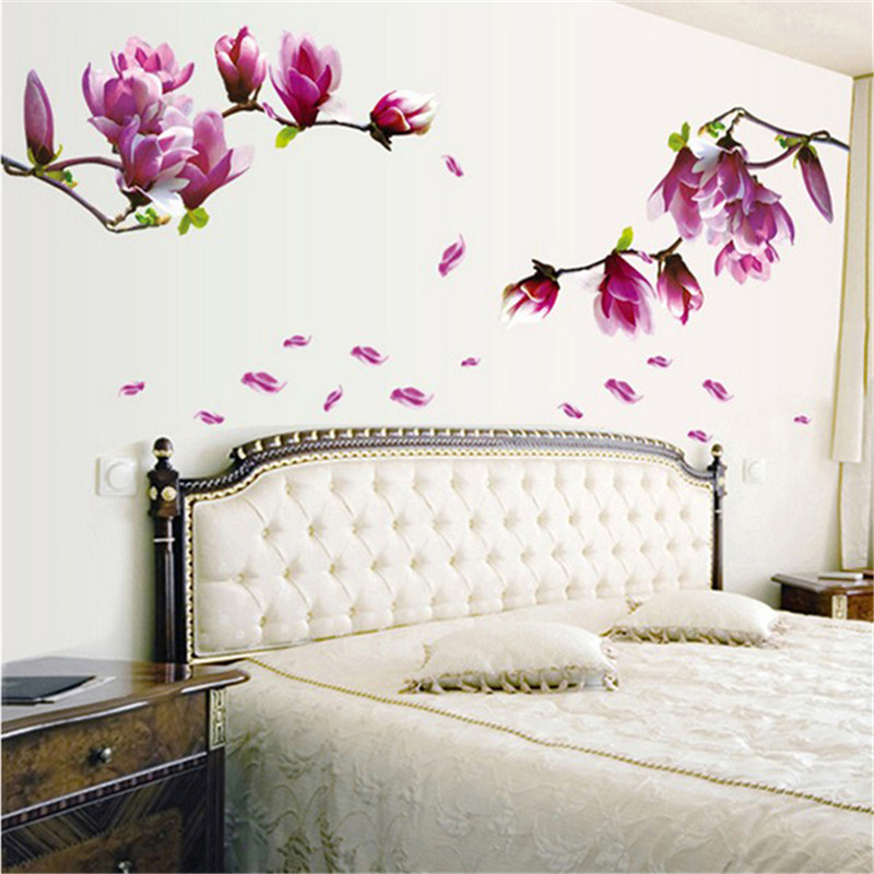 Fashion Magnolia Flower Blossoms Sticker Wall Removable Hall Wallpaper Paste Flowers DIY Home Bedroom YL877325 In Stickers From Garden