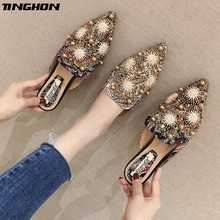 TINGHON Flat Slippers High Fashion Mules Shoes Women Designer Slides With Beads Luxury Slippers Women Mules Flat Shoes недорого